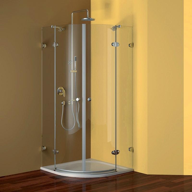 Mereo Sprchový kút, Fantasy, štvrťkruh, 90 cm, R550, chróm ALU, sklo Číre, pánty oválne CK70102E