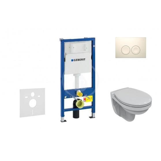 Geberit Duofix - Súprava na závesné WC + klozet a sedadlo Ideal Standard Quarzo – súprava s tlačidlom Delta21, biele (458.103.00.1 NR1)
