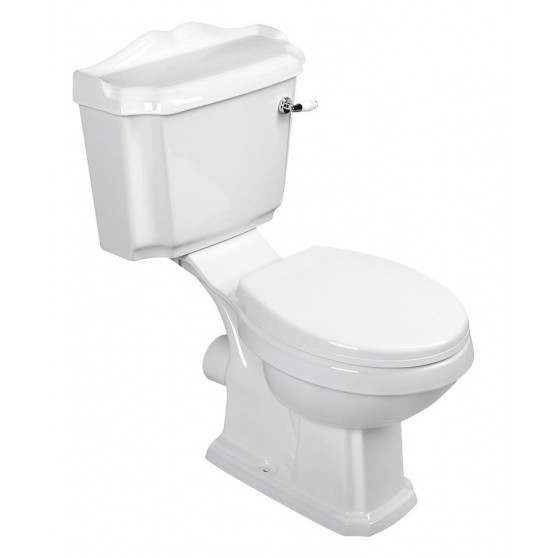 AQUALINE ANTIK WC kombi, misa + nádržka + splachovací mechanizmus + PP WC sedátko, biela AK107