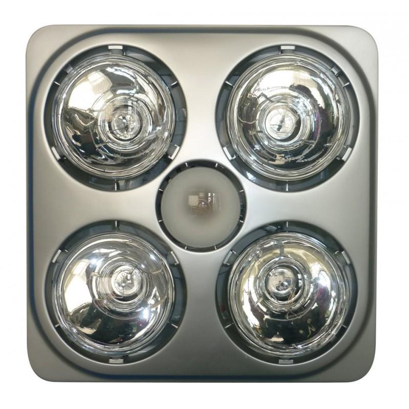 Sapho Stropný kúpeľňový infraohrievač s osvetlením a ventilátorom, 1240 W, strieborná TC582