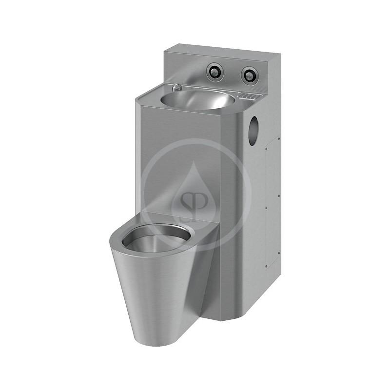 SANELA - Nerezová WC WC s umyvadlem rovný, WC na zemi, servisní otvor (SLWN 38)