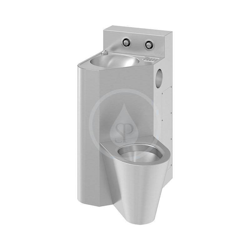 SANELA - Nerezová WC WC s umyvadlem do rohu, WC závěsné vpravo, servisní otvor (SLWN 18ZP)