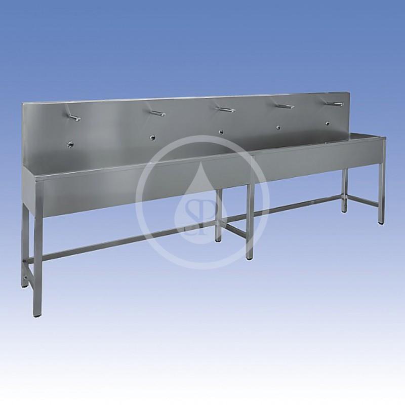 SANELA - Nerezové dřezy Nerezový žlab na nohou, termostatický ventil, 3000 mm, pět elektronik (SLUN 53ET)