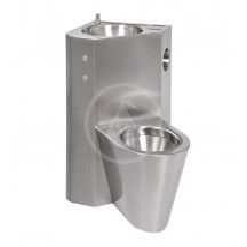 SANELA - Nerezová WC WC s umyvadlem do rohu, WC na zemi vpravo (SLWN 08PP)