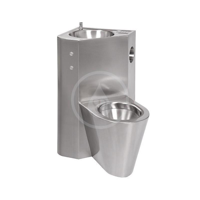 SANELA - Nerezová WC WC s umyvadlem do rohu, WC na zemi vlevo (SLWN 08LP)