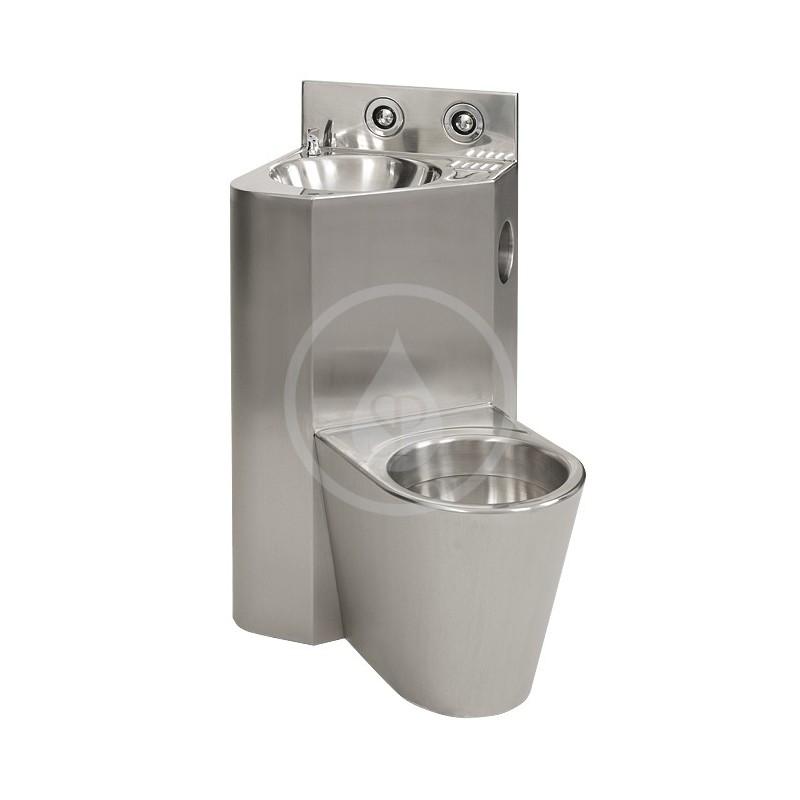 SANELA - Nerezová WC WC s umyvadlem do rohu, WC závěsné vpravo, závitové tyče (SLWN 08ZP)