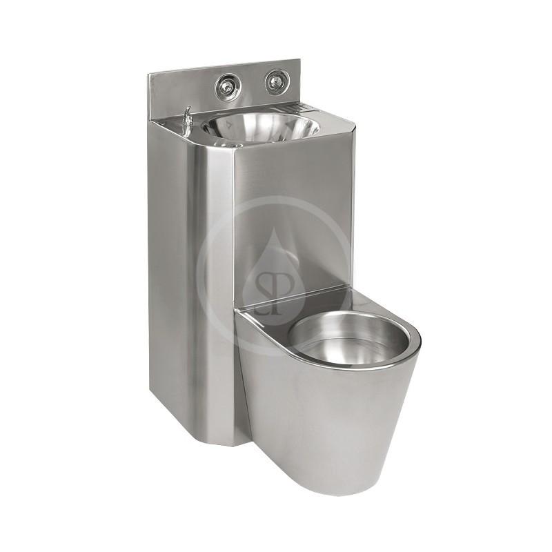 SANELA - Nerezová WC WC s umyvadlem rovný, WC závěsné, závitové tyče (SLWN 28Z)