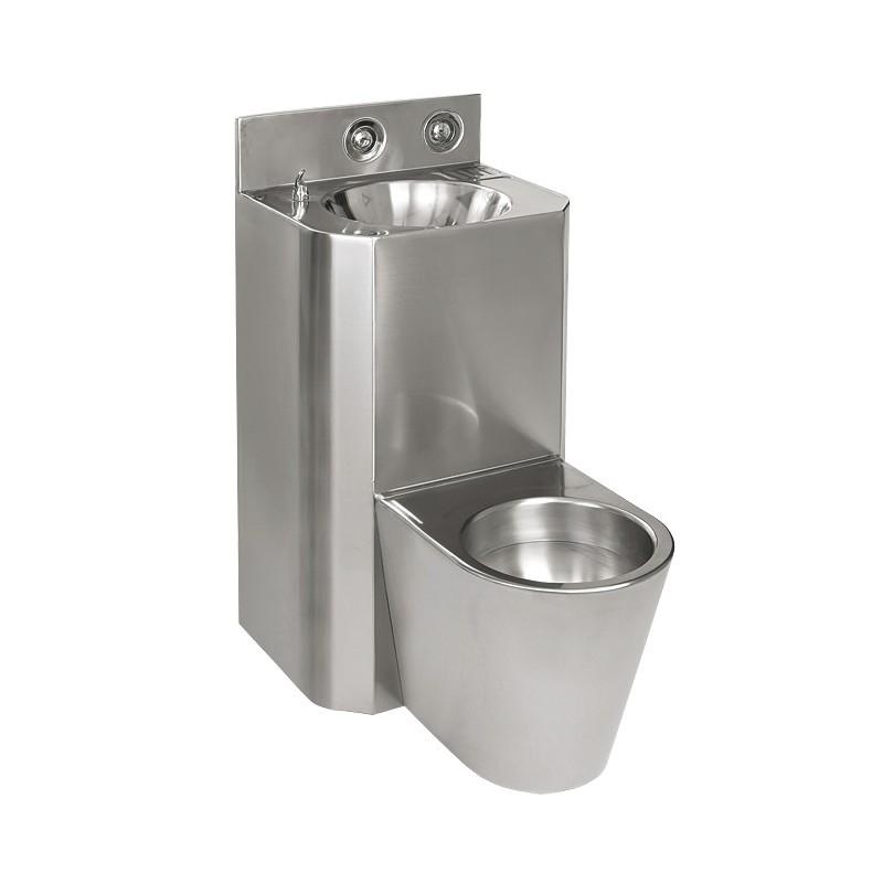 SANELA - Nerez SLWN 28Z Antivandalový kompakt rovný, závěsné WC, závitové tyče SL 94283 (SL 94283)