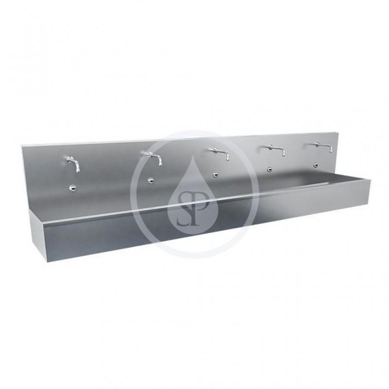 SANELA - Nerezové dřezy Nerezový závěsný žlab, délka 3000 mm, pět integrovaných elektronik a termostatický ventil, matný (SLUN 83ET)