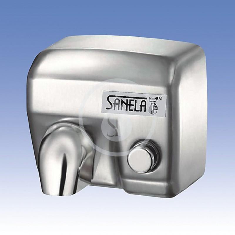 SANELA - Automatické osoušeče Elektrický osoušeč rukou s tlačítkem na čelní stěně, nerezový kryt (SLO 02M)