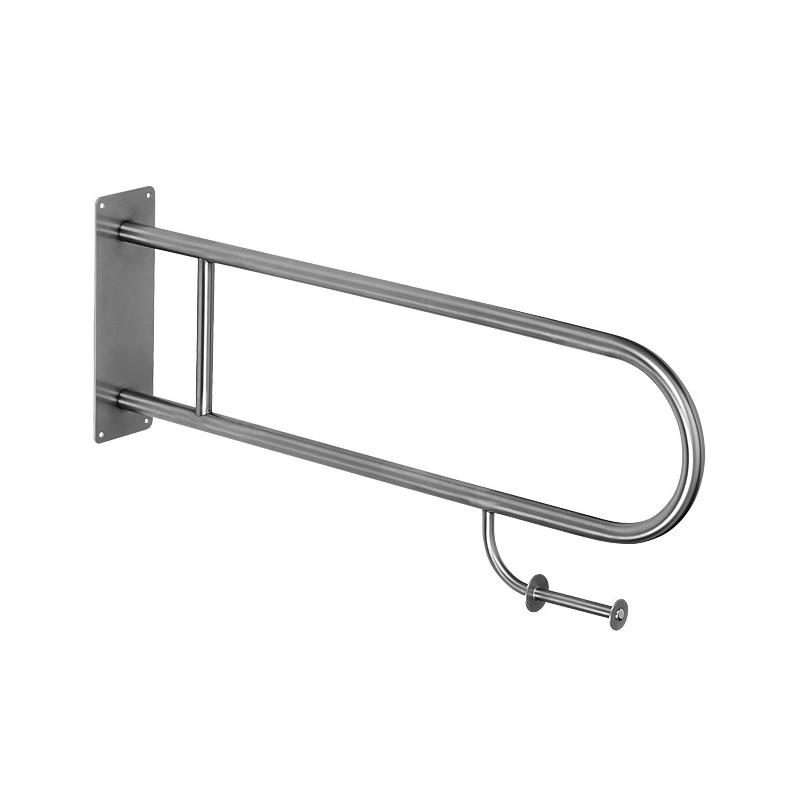 SANELA - Nerez SLZM 03SDXP madlo sklopné, s držákem toalet. papíru, délka 830 mm, matné SL 39032 (SL 39032)