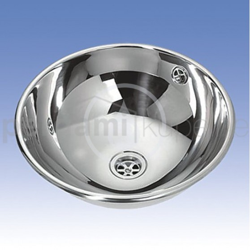 SANELA - Nerezová umyvadla Nerezové zápustné umyvadlo s přepadem, průměr 360 mm (SLUN 45)