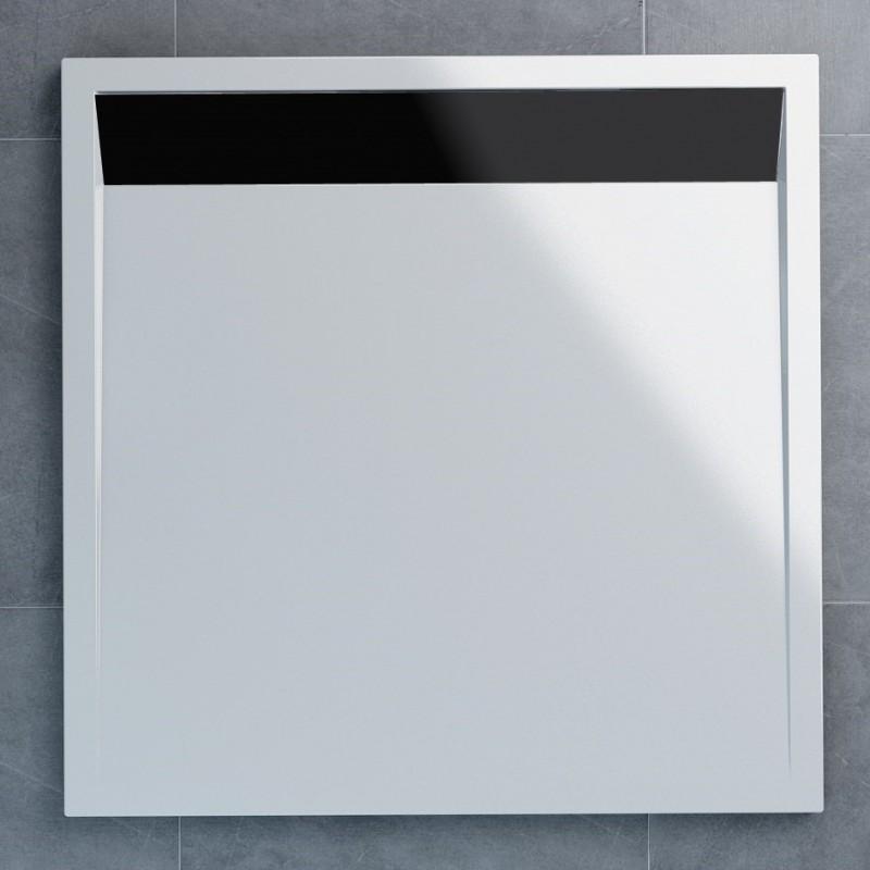 SanSwiss ILA sprchová vanička,čtverec 90x90x3 cm, bílá-kryt černý matný, 900//30 (WIQ0900604)