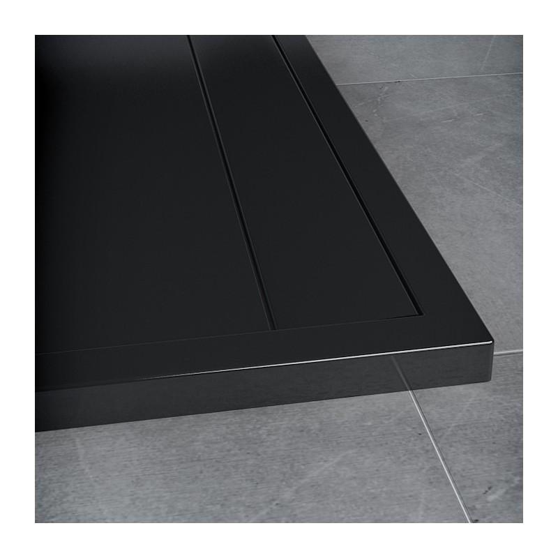 SanSwiss ILA sprchová vanička,čtverec 80x80x3 cm, černý granit-kryt černý matný, 800//30 (WIQ08006154)