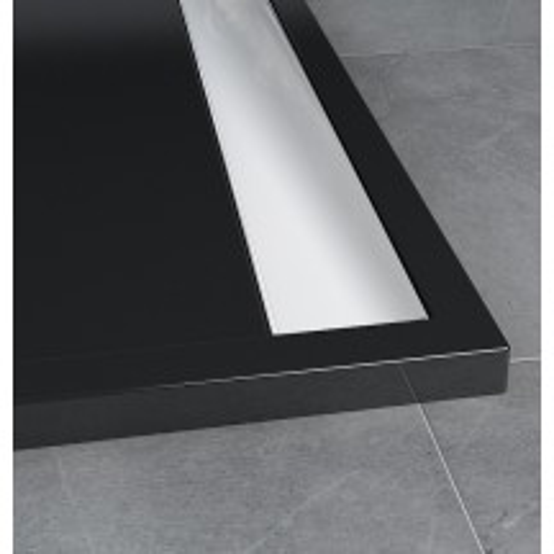 SanSwiss ILA sprchová vanička,obdélník 100x80x3,5 cm, černý granit-kryt aluchrom, 1000/800/35 (WIA8010050154)