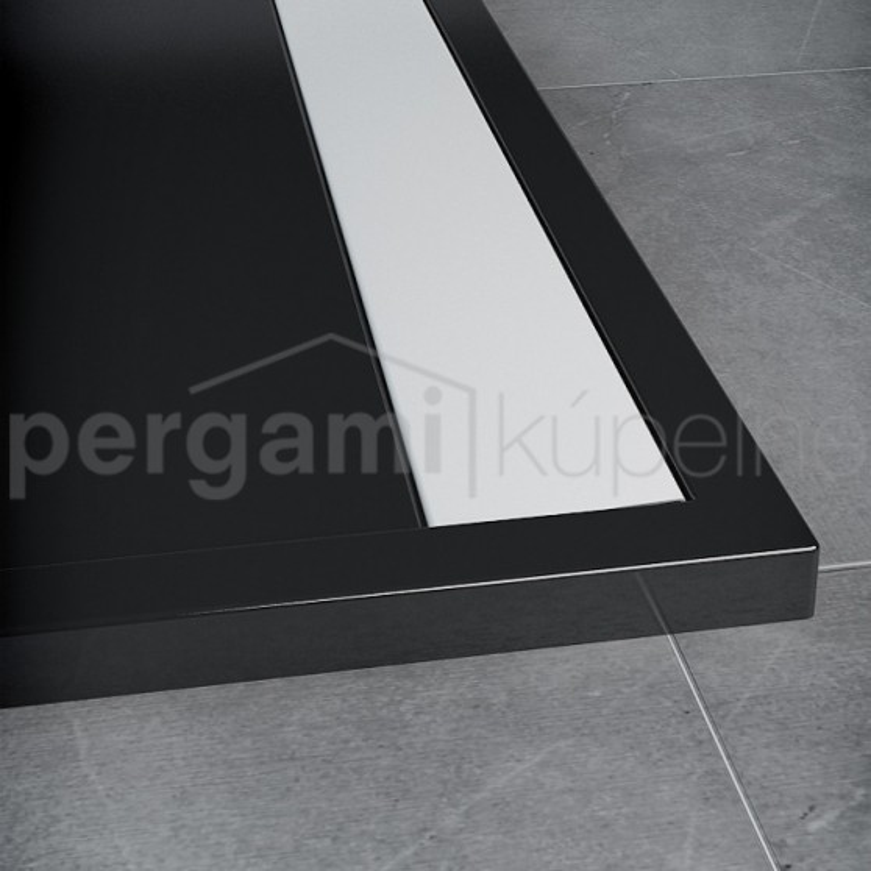 SanSwiss ILA sprchová vanička,obdélník 120x80x3,5 cm, černý granit-kryt bílý, 1200/800/35 (WIA8012004154)