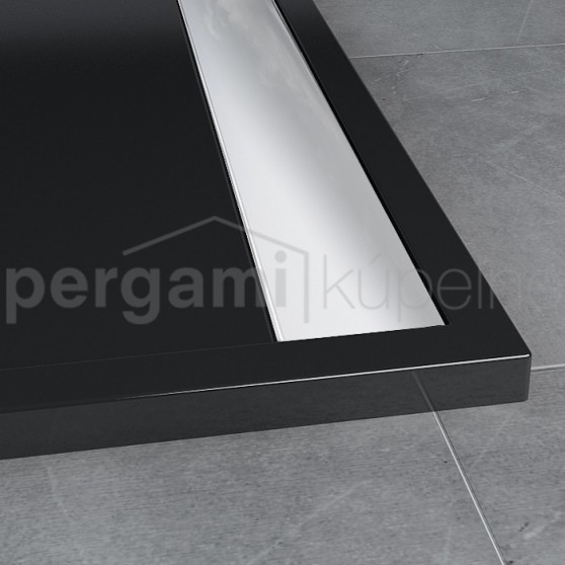 SanSwiss ILA sprchová vanička,obdélník 160x90x3,5 cm, černý granit-kryt aluchrom, 1600/900/35 (WIA9016050154)