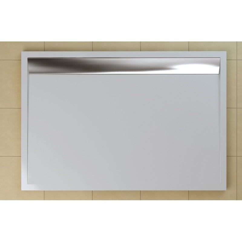 SanSwiss ILA sprchová vanička,obdélník 140x90x3,5 cm, bílá-kryt aluchrom, 1400/900/35 (WIA901405004)