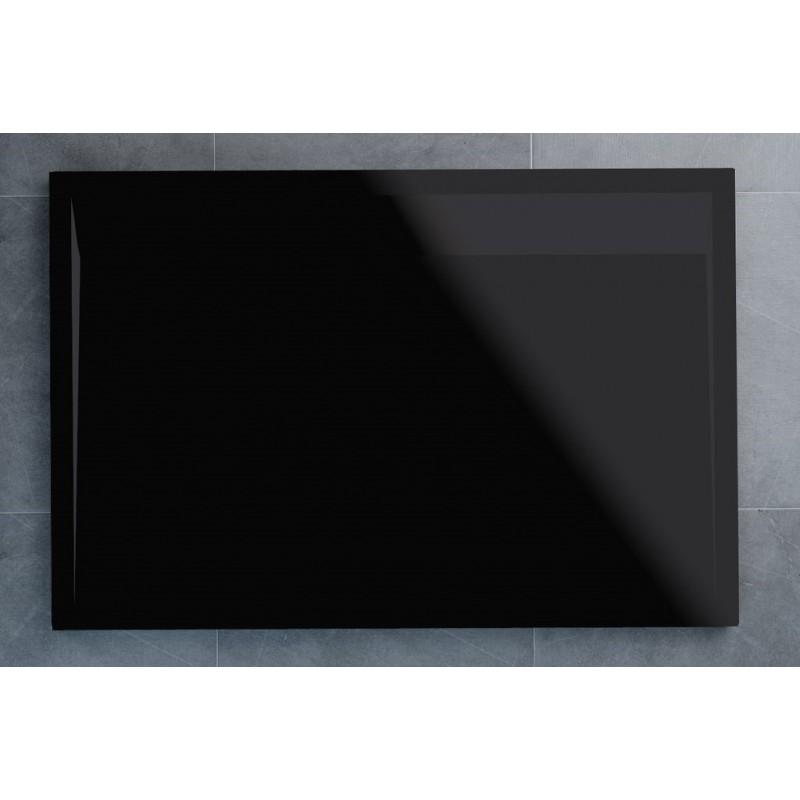 SanSwiss ILA sprchová vanička,obdélník 120x80x3,5 cm, černý granit-kryt černý matný, 1200/800/35 (WIA8012006154)
