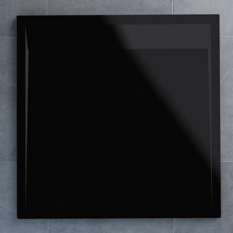 SanSwiss ILA sprchová vanička,čtverec 100x100x3,5 cm, černý granit-kryt černý matný, 1000//35 (WIQ10006154)