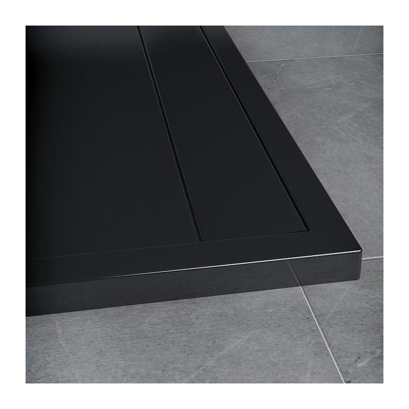 SanSwiss ILA sprchová vanička,čtvrtkruh R550 100x100x3,5 cm, černý granit-kryt černý matný, 1000//35 (WIR5510006154)