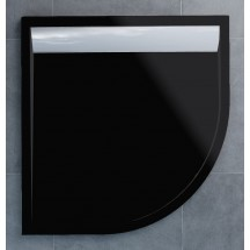 SanSwiss ILA sprchová vanička,čtvrtkruh R550 100x100x3,5 cm, černý granit-kryt aluchrom, 1000//35 (WIR5510050154)