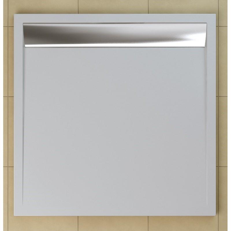 SanSwiss ILA sprchová vanička,čtverec 100x100x3,5 cm, bílá-kryt aluchrom, 1000//35 (WIQ1005004)