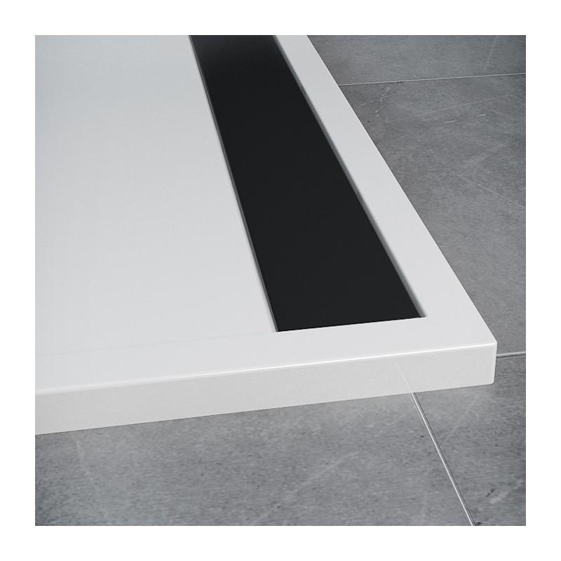 SanSwiss ILA sprchová vanička,čtvrtkruh R550 100x100x3,5 cm, bílá-kryt černý matný, 1000//35 (WIR551000604)