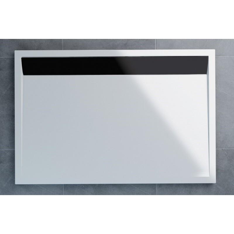 SanSwiss ILA sprchová vanička,obdélník 100x80x3,5 cm, bílá-kryt černý matný, 1000/800/35 (WIA801000604)