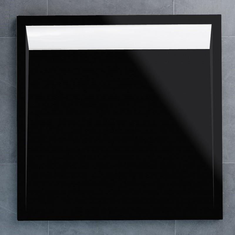 SanSwiss ILA sprchová vanička,čtverec 90x90x3 cm, černý granit-kryt bílý, 900//30 (WIQ09004154)