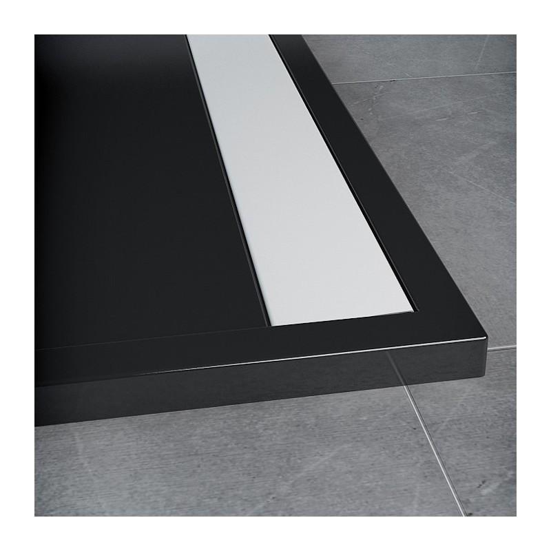 SanSwiss ILA sprchová vanička,čtvrtkruh R550 90x90x3 cm, černý granit-kryt bílý, 900//30 (WIR5509004154)