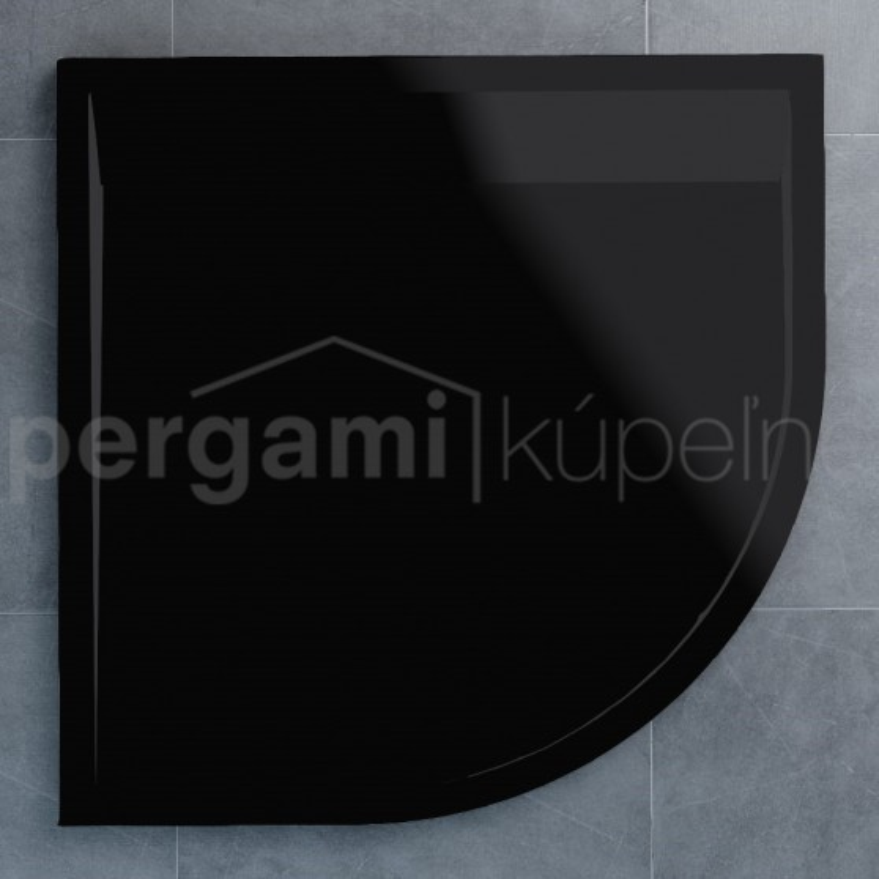SanSwiss ILA sprchová vanička,čtvrtkruh R550 90x90x3 cm, černý granit-kryt černý matný, 900//30 (WIR5509006154)