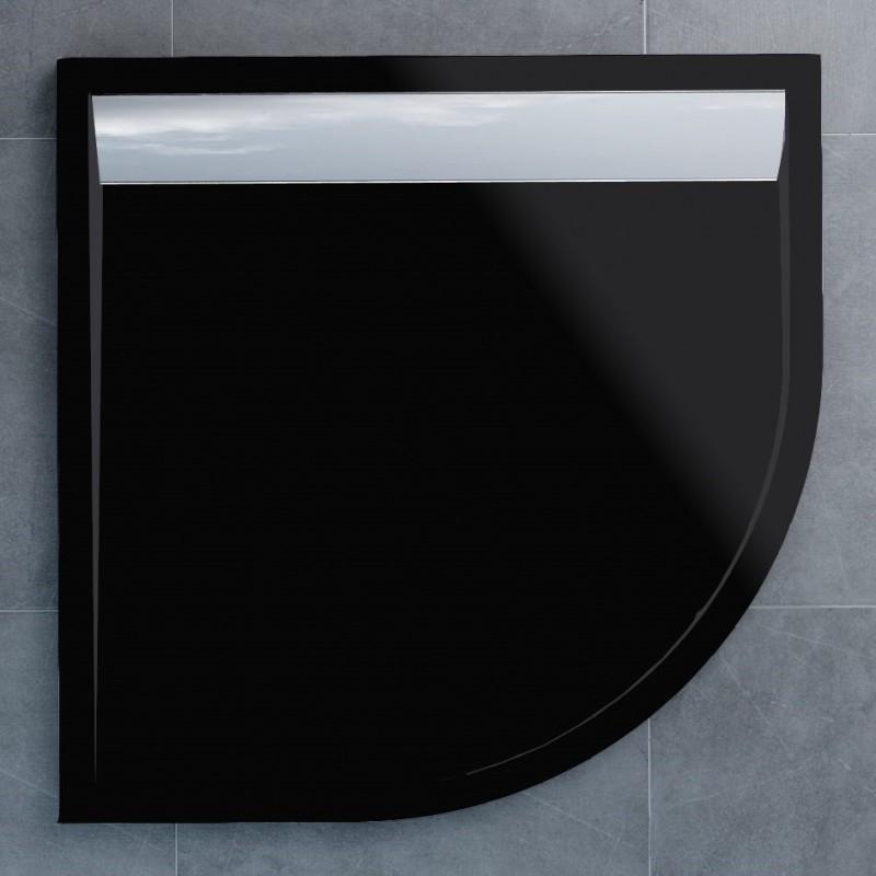 SanSwiss ILA sprchová vanička,čtvrtkruh R550 90x90x3 cm, černý granit-kryt aluchrom, 900//30 (WIR5509050154)