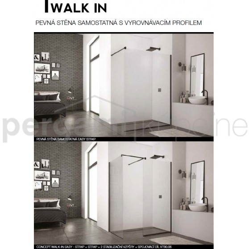 SanSwiss Walk-In Easy PS samost.,VP, 900/2000,06-mat.černá, 07-čiré STR4P0900607 (STR4P0900607)