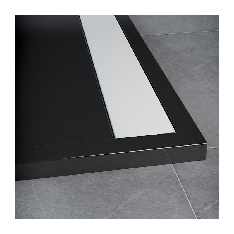 SanSwiss ILA sprchová vanička,čtverec 80x80x3 cm, černý granit-kryt bílý, 800//30 (WIQ08004154)