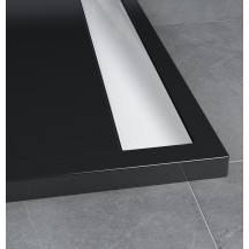 SanSwiss ILA sprchová vanička,čtverec 80x80x3 cm, černý granit-kryt aluchrom, 800//30 (WIQ08050154)
