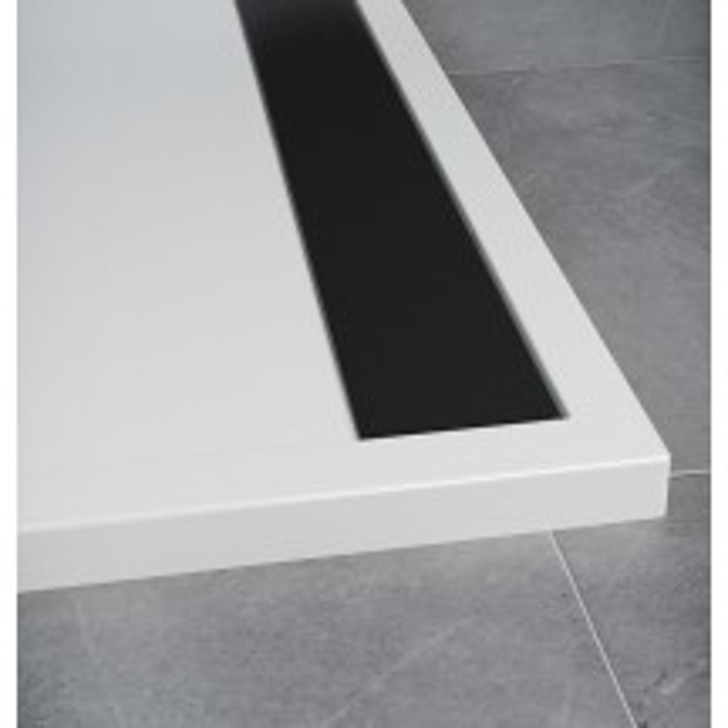 SanSwiss ILA sprchová vanička,čtverec 80x80x3 cm, bílá-kryt černý matný, 800//30 (WIQ0800604)