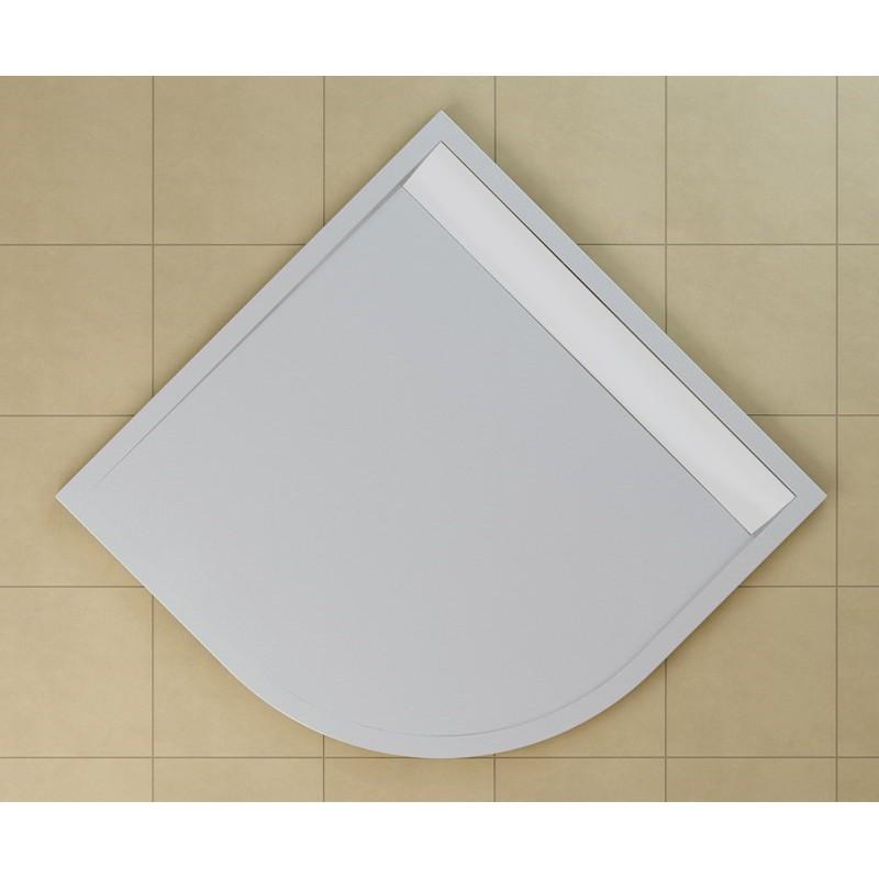 SanSwiss ILA sprchová vanička,čtvrtkruh R550 90x90x3 cm, bílá-kryt bílý, 900//30 (WIR550900404)