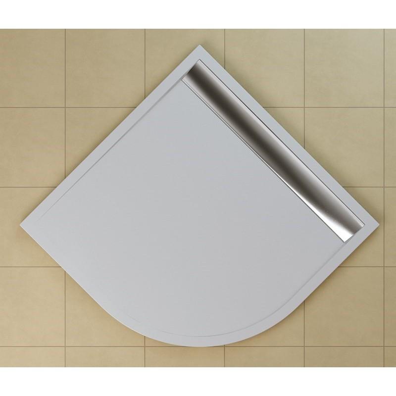 SanSwiss ILA sprchová vanička,čtvrtkruh R550 90x90x3 cm, bílá-kryt aluchrom, 900//30 (WIR550905004)